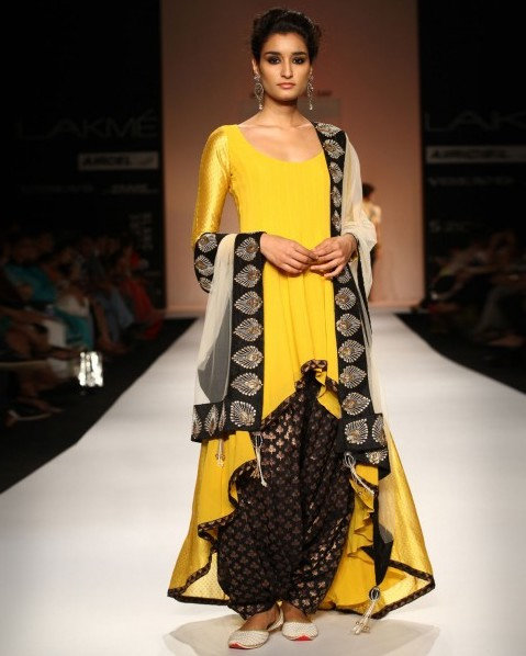 latest-indian-suit-trends-designs-payal-singhal-2016-yellow-high-low-wear