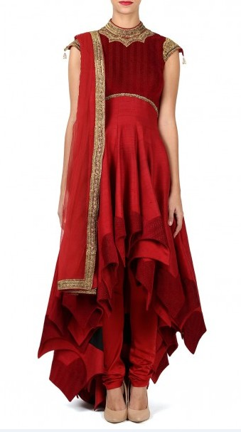 latest-indian-suit-trends-designs-shantanu-nikhil-2016-red-asymmetric