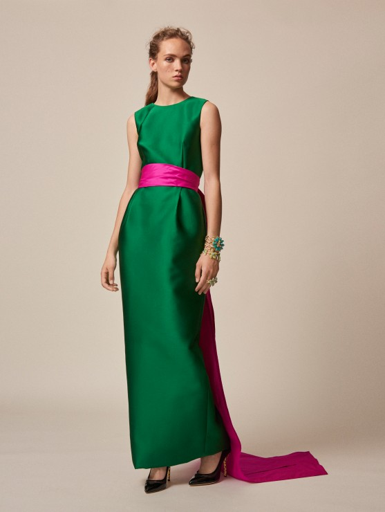 oscar-de-la-renta-resort-2016-fashion-collection-dress-outfit (25)-green-maxy-silk-pink-belt