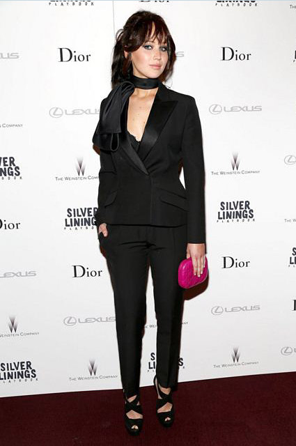 Jennifer-Lawrence-formal-look-outfit-scarf-black-tux-classic-skinny-pants