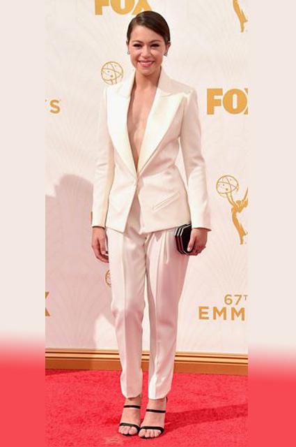 Tatiana-Maslany-tuxedo-tux-look-outfit-white-classic-jacket-sexy