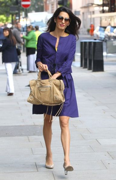 amal-clooney-blue-dress-street-style-handbag-sunglasses-shoes