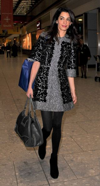 amal-clooney-street-style-best-black-dress-stockings-casual-airport-style