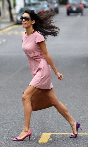amal-clooney-street-style-best-pink-dress-sunglasses-two-tone-pumps