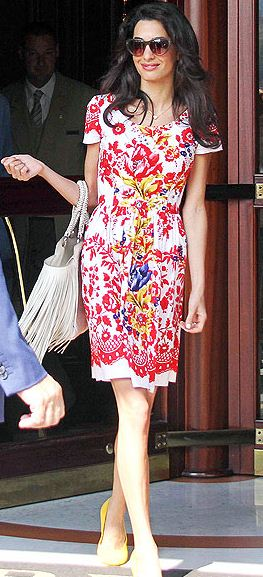 amal-clooney-street-style-best-red-flowery-dress-floral-casual-white