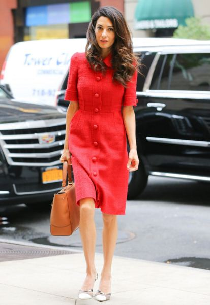 amal-clooney-street-style-red-dress-button-hairstyle-casual