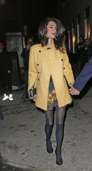 amal-clooney-yellow-jacket-black-skirt-best-casual-celebrity-style
