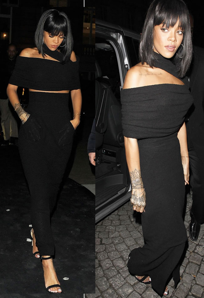 black-monochromatic-rihanna-skirt-long-advice-celebrity-how-to-wear
