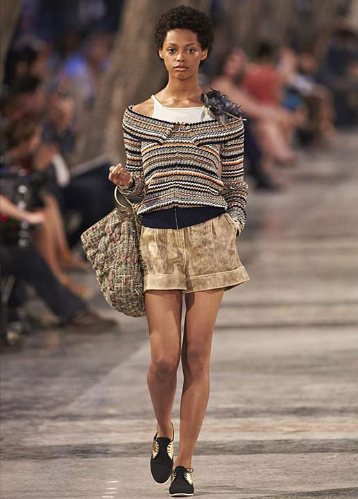 chanel-cruise-resort-2016-2017-layered-off-shoulder-top-shorts-tee