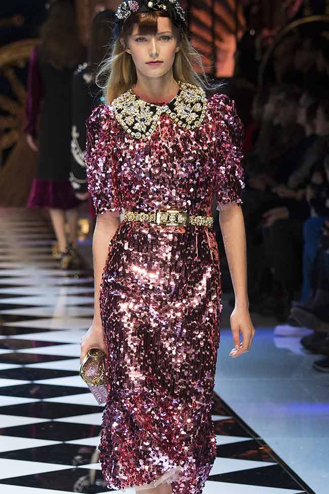 dolce-gabbana-pink-sequinmetallic-dress-fw16-fall-winter-2016-latest-fashion-trends