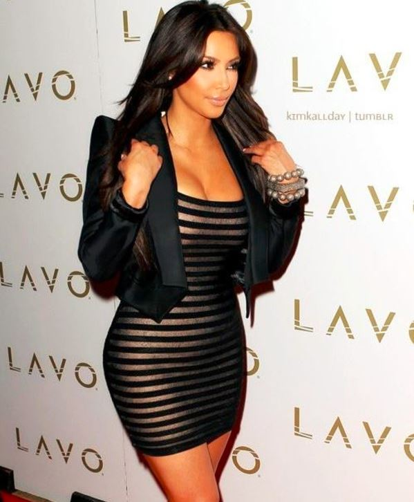 how-to-wear-stripes-stripe-dress-kim-kardashian-pear-shaped-body-type