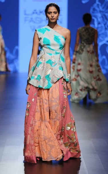 latest-indian-suit-trends-designs-garo-one-shoulder-top-palazzo-2016