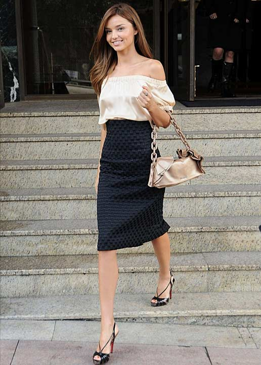 miranda-kerr-off-the-shoulder-top-pencil-skirt-how-to-wear-celebrity-style