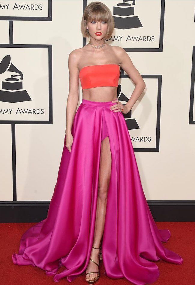 skirt-long-advice-taylor-swift-pink-slit-skirt-orange-crop-top