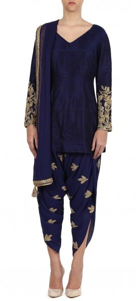 top-indian-suit-trends-designs-zoraya-navy-blue-golden-dhothi-pant-2016