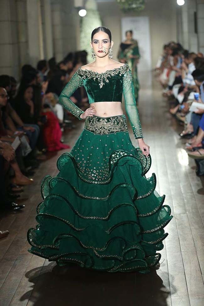 Manav-Gangwani-collection-2016-couture-week-gown (7)-layered-green-gown