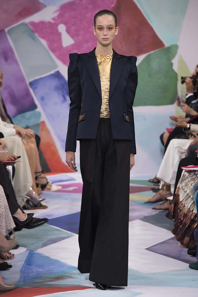 Schiaparelli_haute-couture-fashion-week-fw16-fall-winter-2016-17-collection (4)-navy-jacket-black-flared-pants