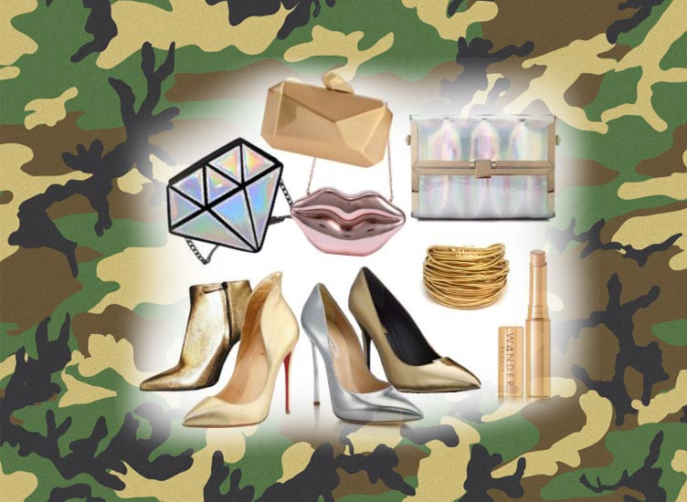 camo-print-how-to-style-camouflage-outfits-with-metallic-accessories-clutch
