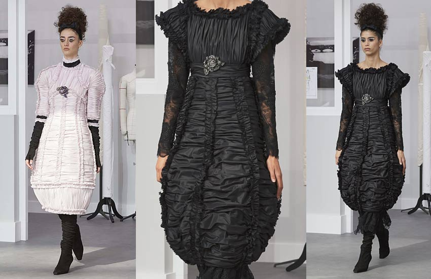 chanel-fall-winter-2016-17-couture-black-ruched-draped-bottle-dress-curved-hem