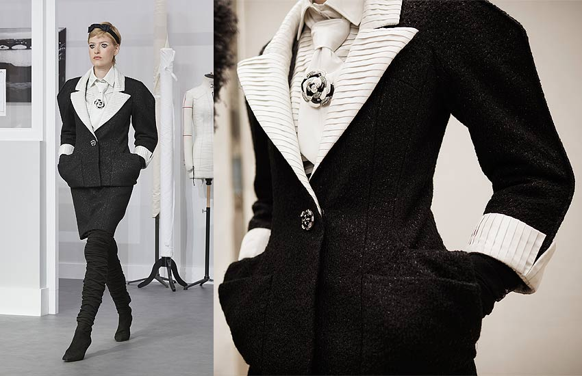 chanel-fall-winter-2016-17-couture-white-necktie-tie-rose-brooch-black-jacket-white-collar-