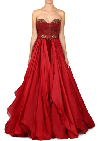latest-indian-engagement-gowns-dresses-outfit-clothes-red-strapless-gown