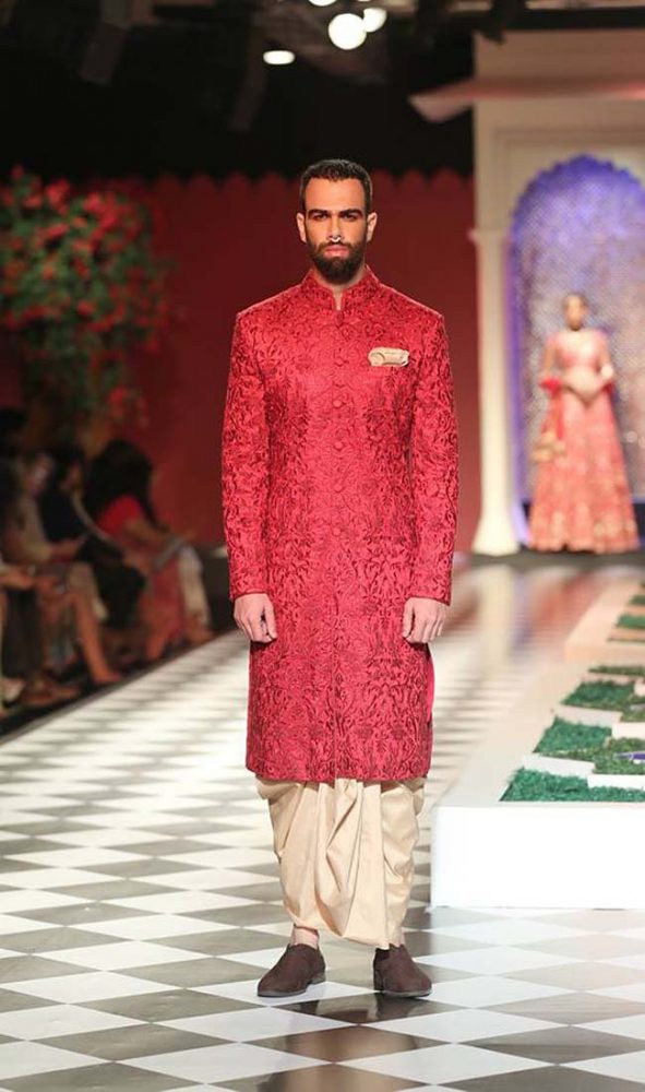 (1)-best-designer-anita-dongre-collection-2016-couture-dress-red-embroidered-sherwani-cream-dhoti