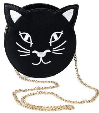 209201b0d71069 Black-White-Leatherette-Cat-Crossbody-Purse-unique-vintage-