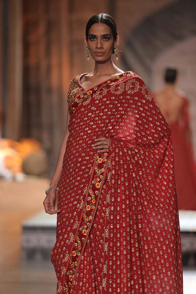 Reynu Taandon-India-Couture-Week-2016-designer-collection-floral-embroidery-border-saree- (11)