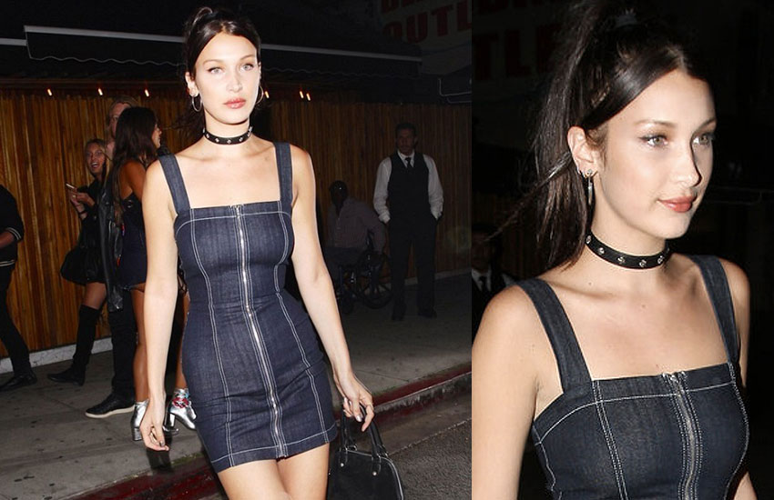 bella-hadid-denim-dress-how-to-wear-chokers-studded-black