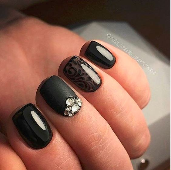 black-nail-art-designs-latest-2016-nails-ideas-glossy-party-nailart-embellished