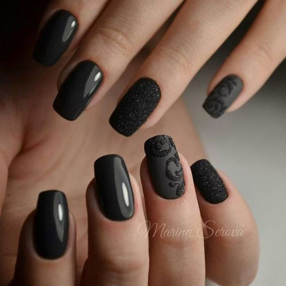 black-nail-art-designs-latest-2016-nails-ideas-matte