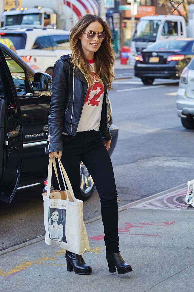Olivia Wilde spotted wearing a leather jacket while entering her hotel in the East Village neighborhood of NYC Pictured: Olivia Wilde Ref: SPL1264334 140416 Picture by: J. Webber / Splash News Splash News and Pictures Los Angeles:310-821-2666 New York:212-619-2666 London:870-934-2666 photodesk@splashnews.com