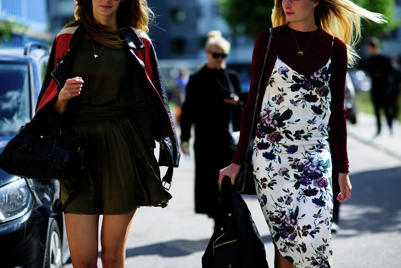 fashion-street-style-best-copenhagen-fashion-week-street-burgundy-tshirt-floral-maxi-deep-green-one-piece-leather-jacket-spring-summer-2016