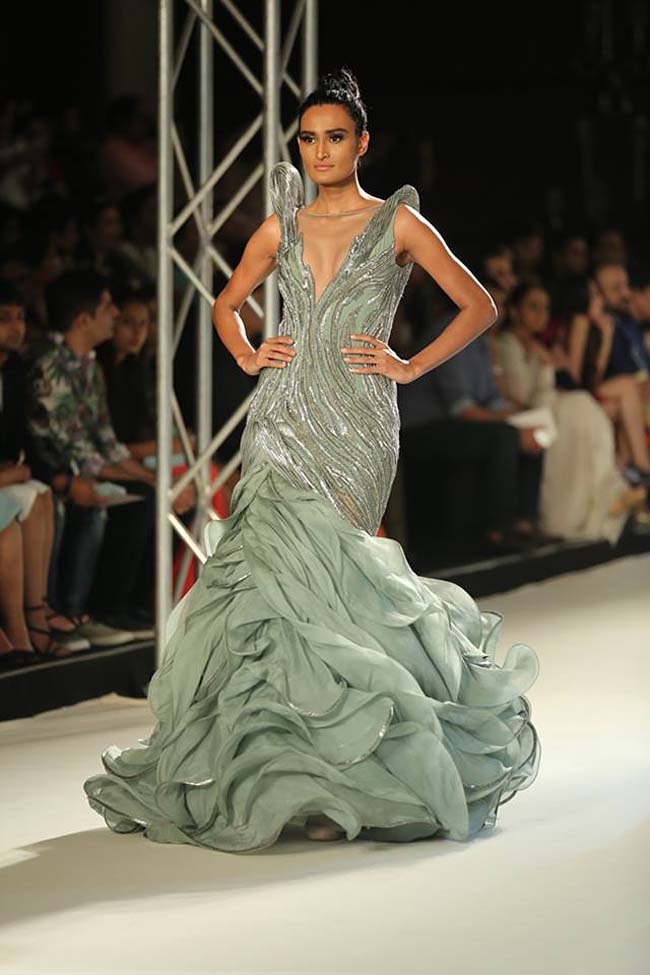 gaurav-gupta-india-couture-week-collection-2016-dress (12)-green-grey-ruffle-mermaid-gown