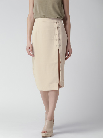 myntra-front-slit-beige-skirt-knee-length-online-india-cheap-shopping