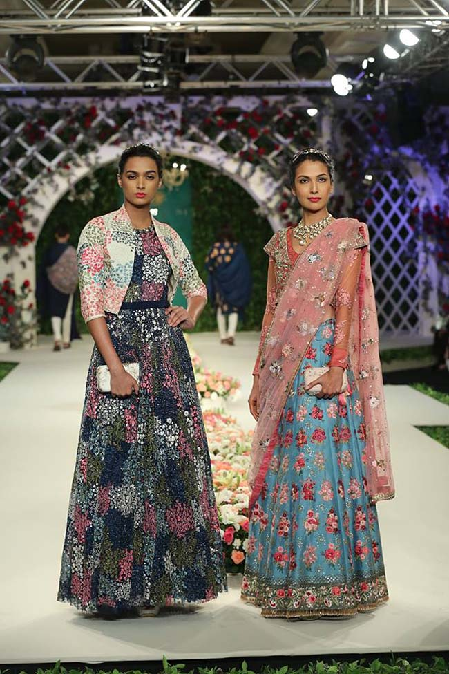 varun-bahl-India-Couture-Week-2016-collection-floral-gown-cream-jacket-blue-lehenga (13)