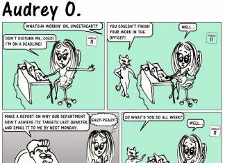 audrey-o-comic-v1e9-girl-cartoon-coco-procrastination-work-office-funny-joke-boss-career-