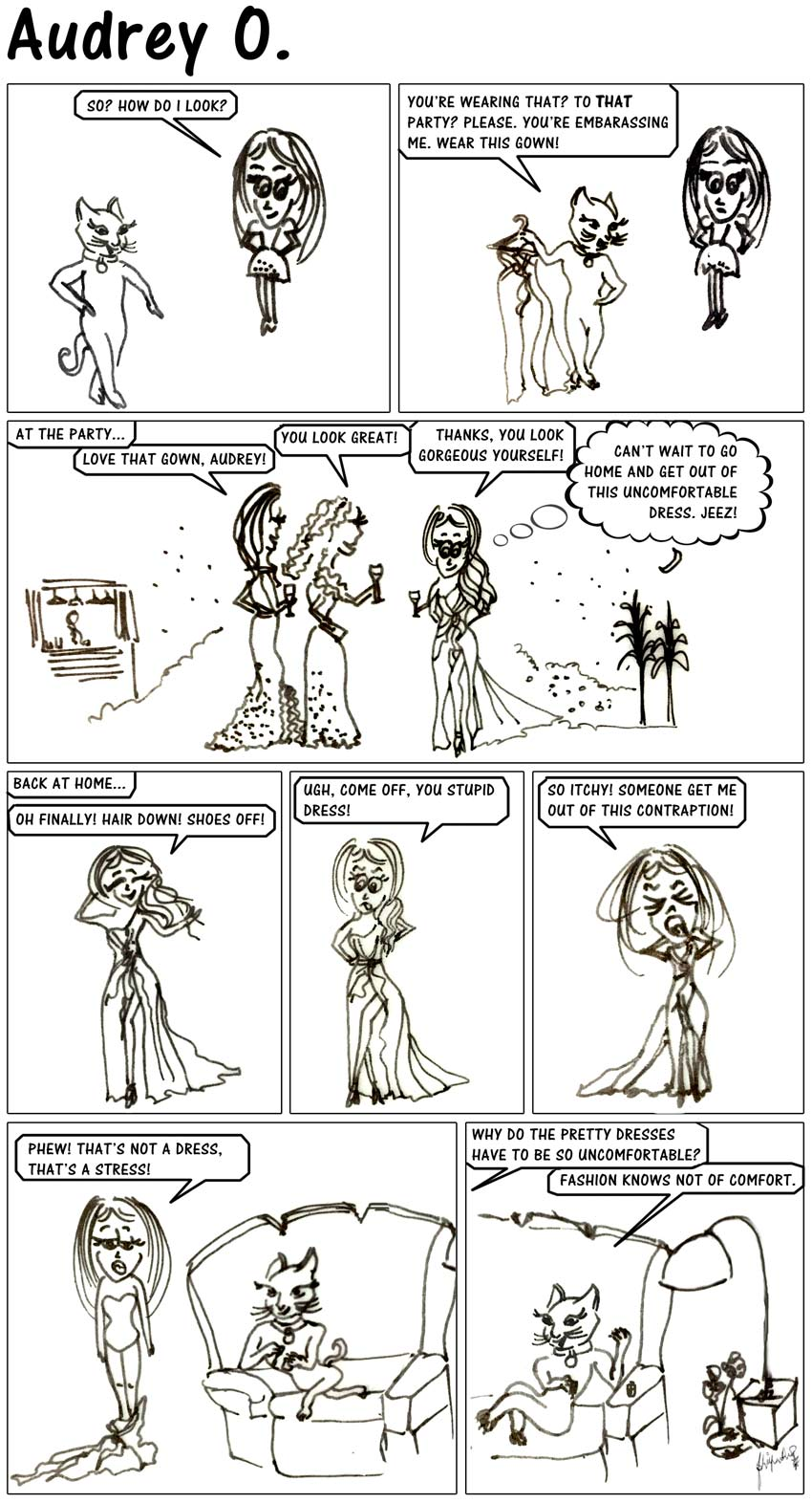 audrey-o-comics-v1e8-fashion-pretty-gown-designer-uncomfortable-itchy-dress-quotes-comic-girl-cartoon-coco