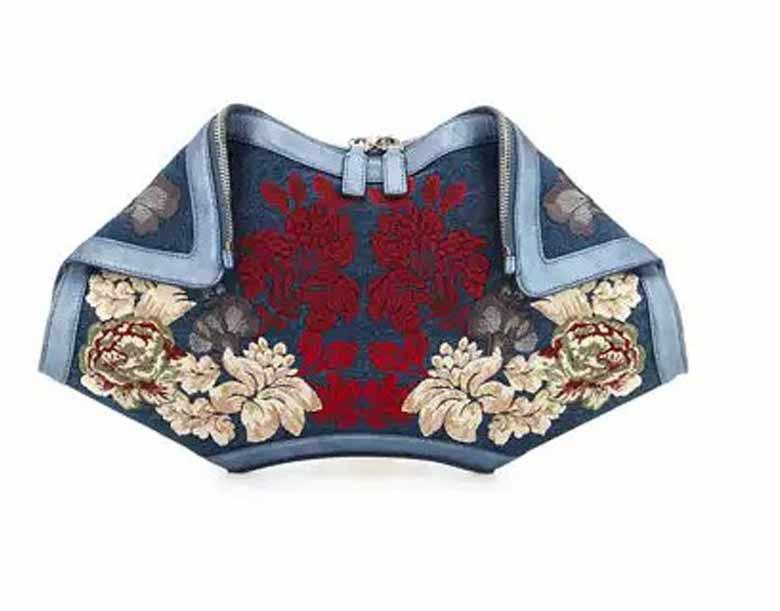 best-trendy-handbag-floral-embroidered-denim-clutch-bag-alexander-mc-queen-rtw-fall-winter-2016