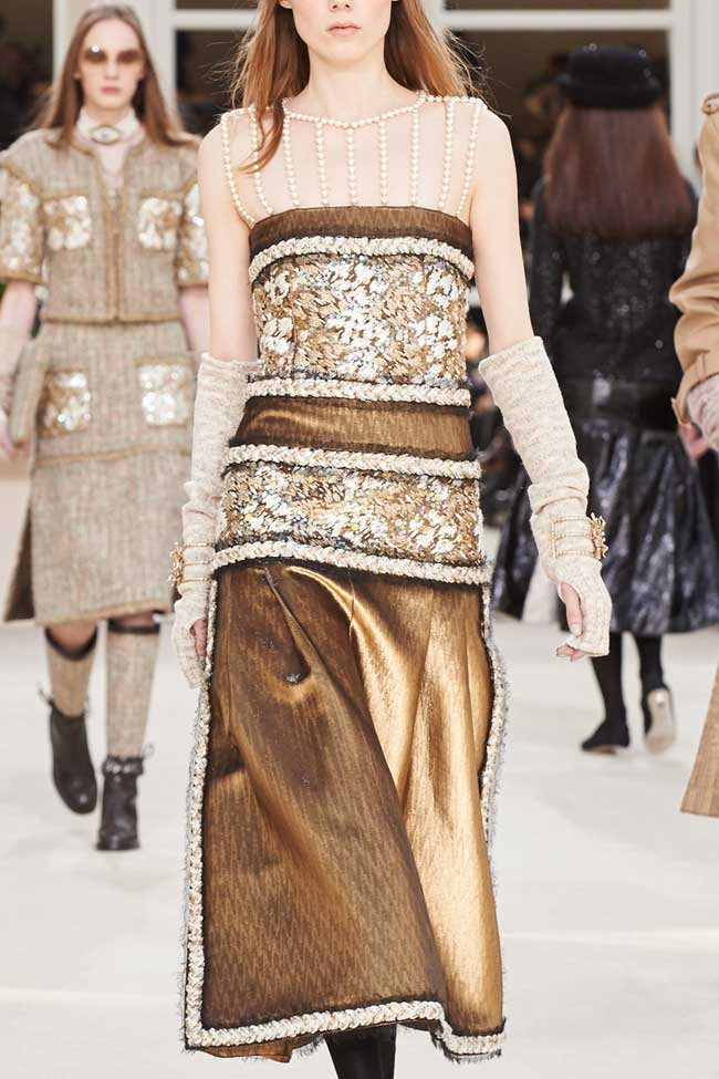 chanel-gold-skirt-metallic-dress-fw16-fall-winter-2016-latest-fashion-trends