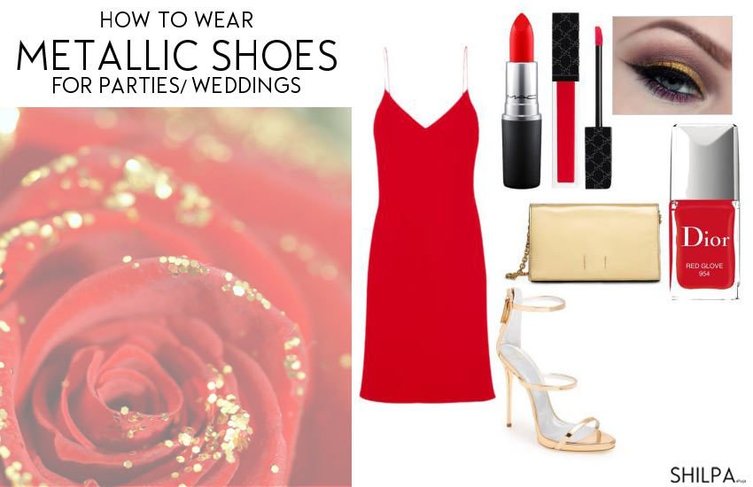 how-to-wear-metallic-shoes-formal-party-wedding-gold-heels-outfit-ideas