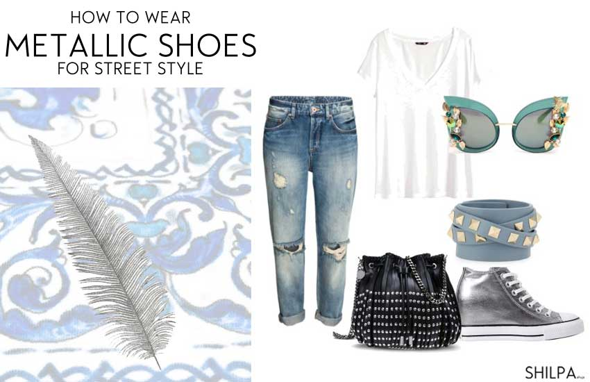 how-to-wear-Metallic Shoes-street-style-silver-sneakers-outfit