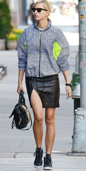 leather-skirt-karolina-kurkova-jacket-sneakers