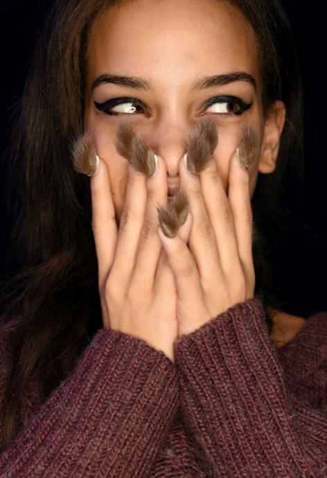 nail trends-nail polish - faux fur nails- funky