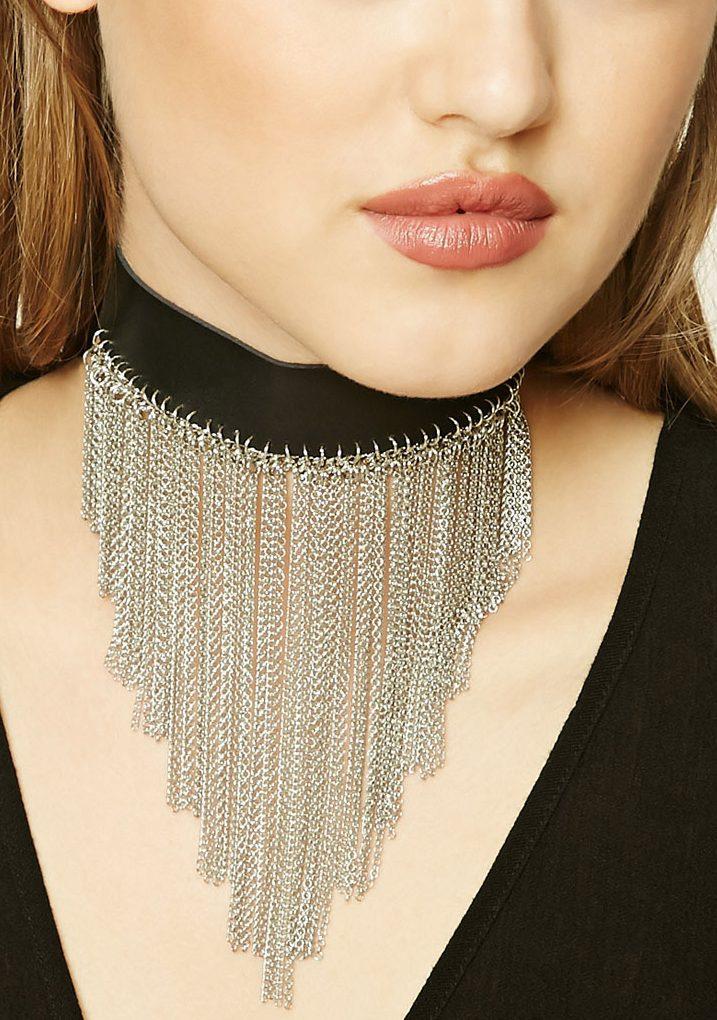 chain-fringe-choker-forever21-vlack-silver-metal-online-shopping-ideas