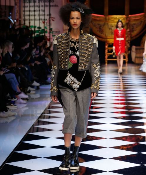 dolce-gabbana-grey-crop-military-jacket-frogging-dress-fall-winter-2016-latest-trend-fw16