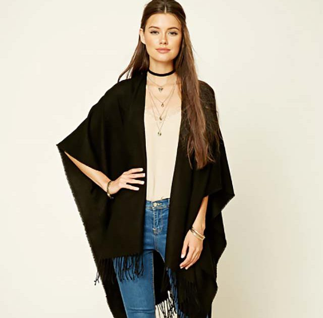 fashion-sweater-trends-2017-fall-forever21-poncho-black-women-shopping-latest