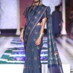 latest-designer-sarees-anita-dongre-spring-2017-fringe-tassle-silk-saree-blouse-navy-blue