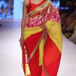 latest-designer-sarees-trends-mandira-bedi-multi-colored-foil-print-georgette-2016-2017