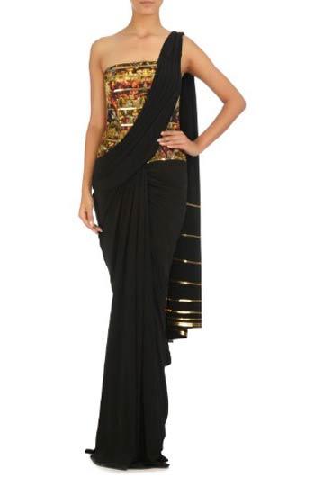 latest-saree-trends-shantanu-nikhil-black-georgette-saree-printed-bodice-2016-2017